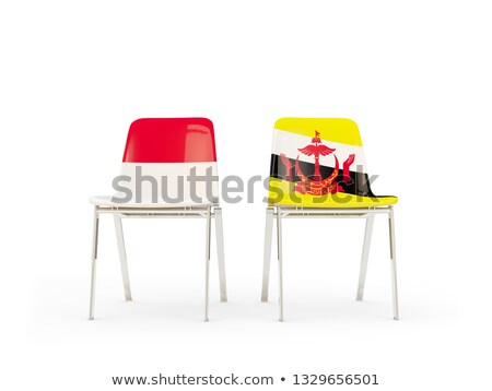 Two chairs with flags of Indonesia and brunei Stock photo © MikhailMishchenko