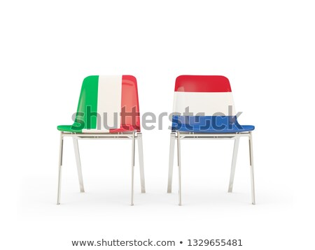 Two chairs with flags of Italy and netherlands Stock photo © MikhailMishchenko