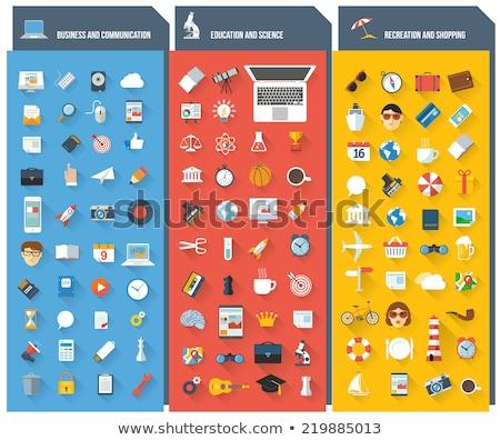 Ingesteld icon teken vector kunst Stockfoto © vector1st