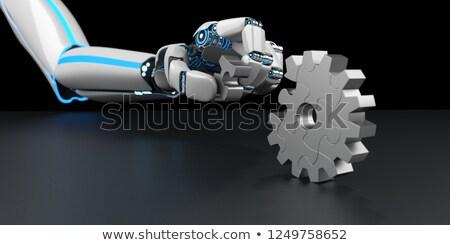 robot · puzzel · succes · geïsoleerd · witte · metaal - stockfoto © limbi007