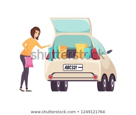 Female Shopaholic Woman with Bags and Car Vector Stock photo © robuart
