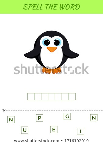 Spelling woord sjabloon pinguin illustratie school Stockfoto © colematt