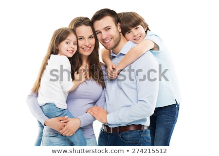 happy family with two kids on studio white background stock photo © lopolo