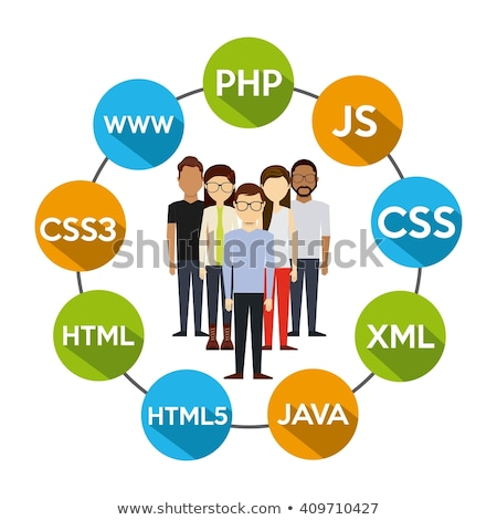 CSS Programming Language Vector Flat Illustrations Set Stock fotó © pikepicture