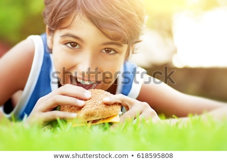 People Having Picnic, Eating Fast Food on Nature Stock photo © robuart