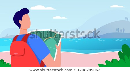 Jonge vrouw groene rugzak permanente meer kust Stockfoto © denbelitsky