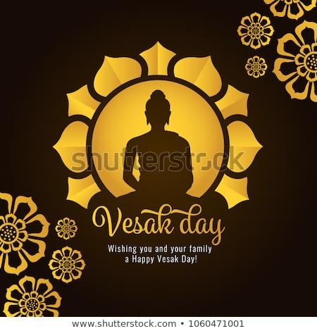 Vesak Day banner of gold lotus flower and buddha Stock photo © cienpies