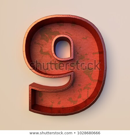Rostigen Metall Schriftart Zahl neun 3D Stock foto © djmilic