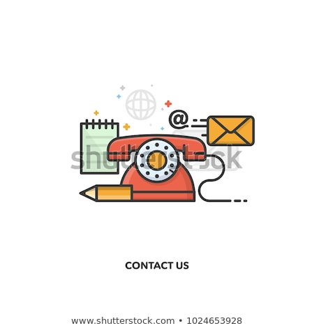 Сток-фото: Customer Support And Contact Us Outline Icon Set Flat Vector Illustration
