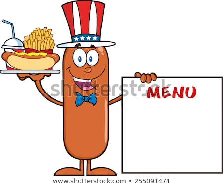 Patriotic Sausage Cartoon Character Carrying A Hot Dog, French Fries And Cola Next To Menu Board Stock photo © hittoon