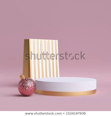 White Round Podium Pedestal Scene With Pink Background And Ballo Stock photo © barbaliss
