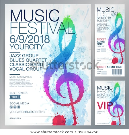 Muziek merkt poster witte ontwerp muziek folders Stockfoto © alexaldo