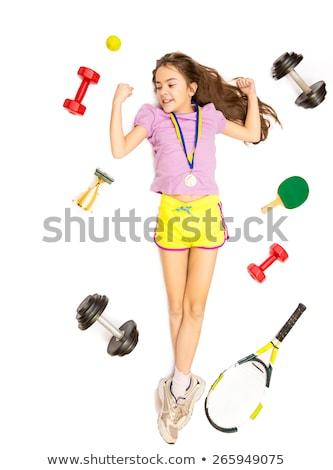Ingesteld verschillend meisje spelen ping pong illustratie Stockfoto © bluering