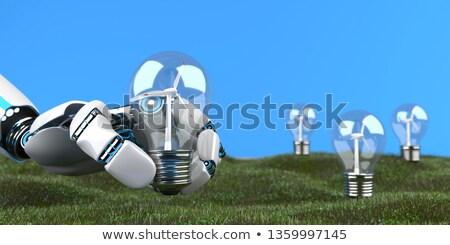 humanoid · robot · kéz · szélturbina · öko · szélturbinák - stock fotó © limbi007