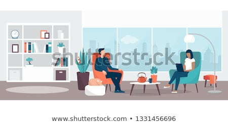interior of room sitting couple plants vector stock photo © robuart