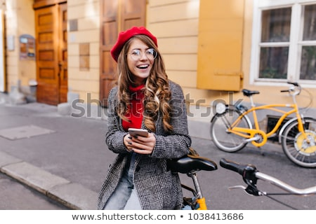 Stock photo: brunette on the background of the city