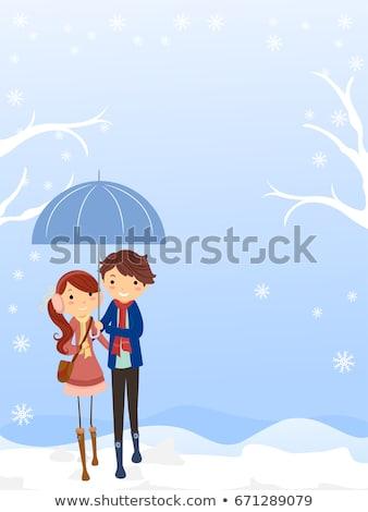 stickman couple teen snow background stock photo © lenm