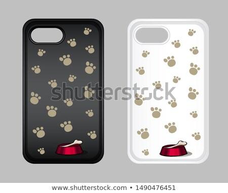 グラフィックデザイン 携帯電話 場合 犬 足跡 実例 ストックフォト © bluering