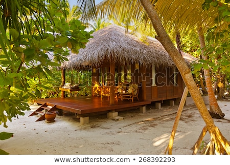 Plage Maldives pont chaises ciel Photo stock © borisb17
