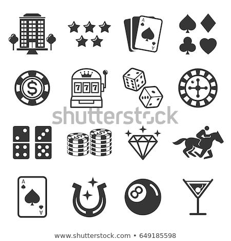 Casino iconen speelkaarten roulette chips geld Stockfoto © cidepix