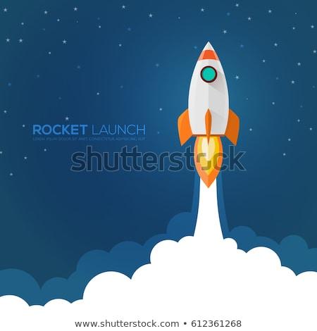 Blauw retro raket schip illustratie geïsoleerd Stockfoto © hittoon