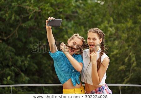 legjobb · barátok · lányok · vicces · pillanatfelvétel · portré · illusztráció - stock fotó © imaagio