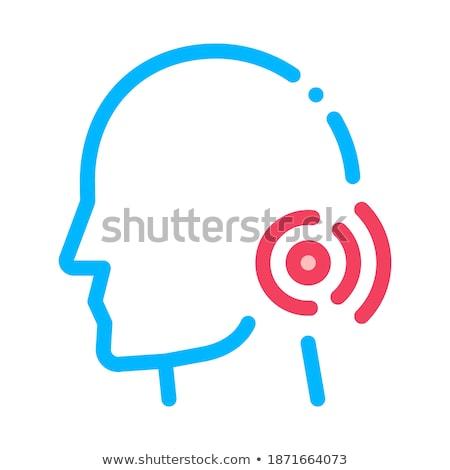 pin nape pain man silhouette headache vector icon stock photo © pikepicture