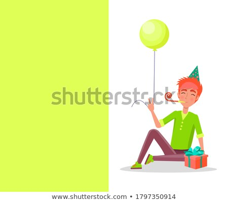 Happy birthday Postcard, Guy Party Horn in Mouth Stock photo © robuart