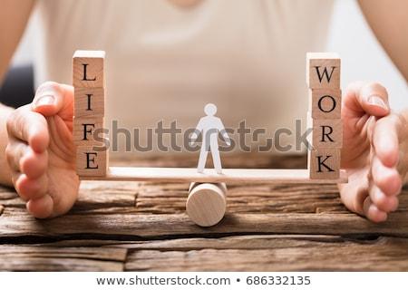życia · pracy · bloków · równoważenie · odizolowany - zdjęcia stock © andreypopov