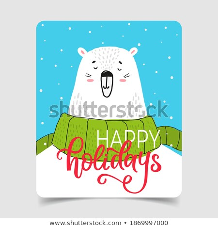 beautiful retro christmas card with polar bear and santa stock photo © balasoiu