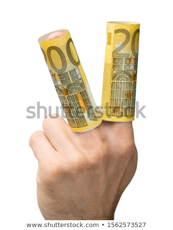 Man's Hand Showing Rolled Up Euro Banknotes Stock photo © AndreyPopov