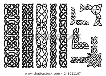 Celtic vector frame or border pattern with decorative corners - rectangle 5x7in, Irish knots, braide Stock photo © RedKoala