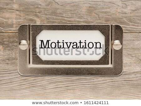 Motiváció fém akta faliszekrény címke keret Stock fotó © feverpitch