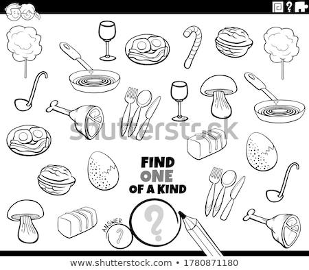 one of a kind game for kids with food objetcs Stock photo © izakowski