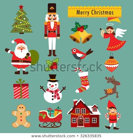 Weihnachten Urlaub elf Schlitten Beschriftung Zeit Stock foto © robuart