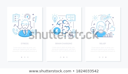 Stress and psychological problems - line design style icons set Stock photo © Decorwithme