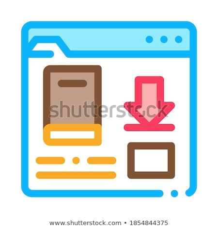Książki pobrania folderze ikona wektora Zdjęcia stock © pikepicture