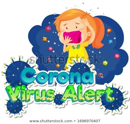 Plakat projektu koronawirus chorych dziewczyna kaszel Zdjęcia stock © bluering