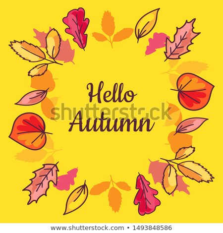 Cartaz olá outono secar folhas grande Foto stock © barsrsind