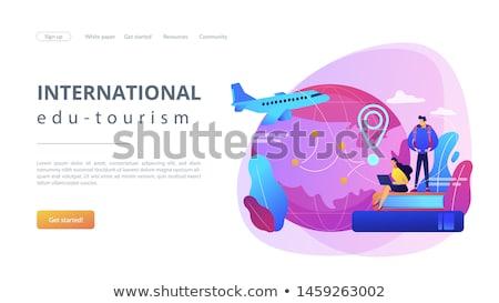 Oktatási turizmus leszállás oldal világszerte utazás Stock fotó © RAStudio