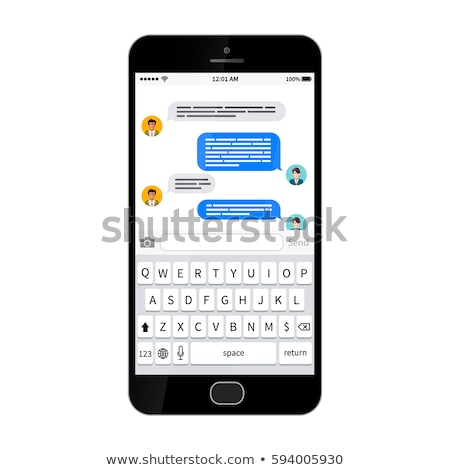 Black glossy smartphone with sms texting dialog Stock photo © evgeny89