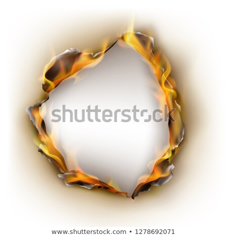 Realistic burned torn hole in paper on white Stock photo © evgeny89