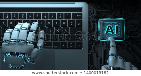 A robot hand with the text AI about a microchip. 3d illustration Stock photo © limbi007