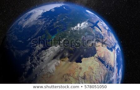 avión · vuelo · tierra · blanco · verde · azul - foto stock © pressmaster