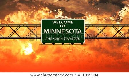 Миннесота шоссе знак зеленый США облаке улице Сток-фото © kbuntu