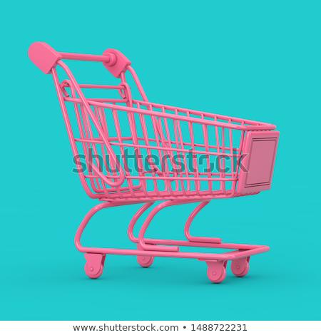 3D · panier · vert · bleu · design · Shopping - photo stock © cidepix