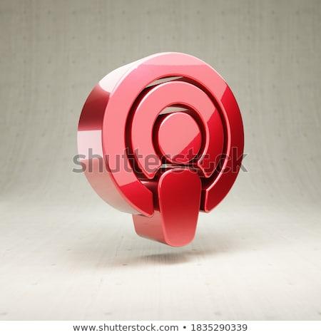 красный Подкаст кнопки изолированный белый Сток-фото © cidepix