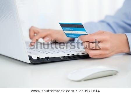 pagamento · café · vista · lateral · mãos · garçonete · eletrônico - foto stock © hasloo
