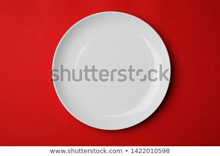 vektör · piknik · masa · örtüsü · boş · plaka · kırmızı - stok fotoğraf © adamson