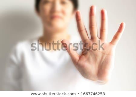 hand · symbool · vijf · witte · lichaam · achtergrond - stockfoto © inxti